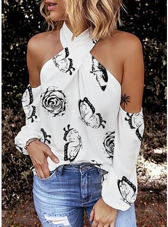 Potisk Květiny Odhalená Ramena Dlouhé rukávy Sexy Bluze