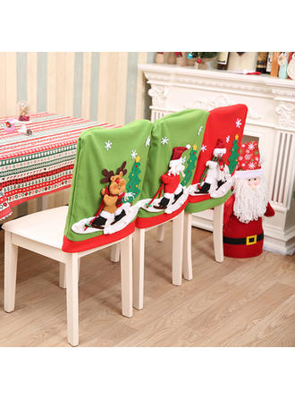 Feliz Navidad Monigote de nieve Reno Papa Noel Tela no tejida Cubierta de la silla