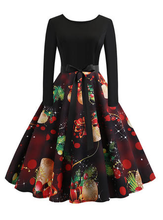 Print Long Sleeves A-line Knee Length Vintage/Christmas Dresses