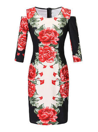 Print/Floral Cold Shoulder Sleeve Sheath Knee Length Casual/Elegant Dresses