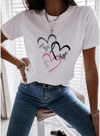 Figura Corazón Impresión Cuello Redondo Manga Corta Camisetas