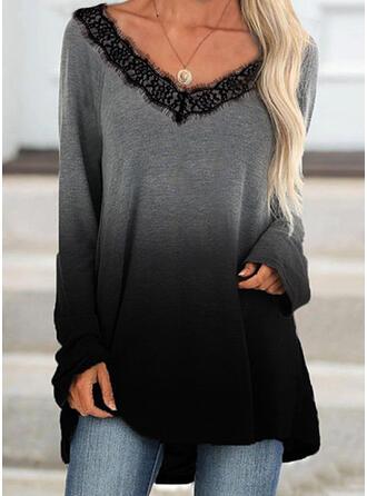 Blonder Gradient V-hals Lange ærmer Sweatshirts