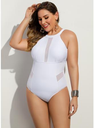 Jednobarevná Kulatý krk Sexy Plus velikost Jednodílné Plavky