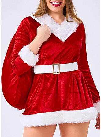 Color Block Long Sleeves A-line Mini Christmas Dresses