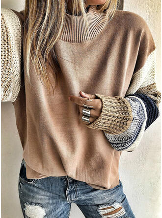 Color Block Chunky knit Round Neck Long Sleeves Casual Blouses