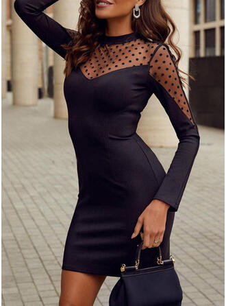PolkaDot Long Sleeves Bodycon Above Knee Little Black/Party/Elegant Dresses