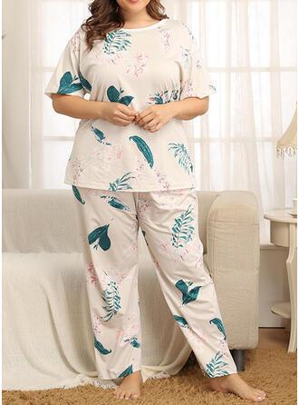 Girocollo Maniche corte Floreale Taglia grossa Attraente Set di pigiami