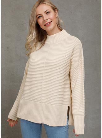Einfarbig Gerippt Stehkragen Pullover