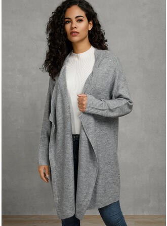 Solid Fickor Collarless Cardigan