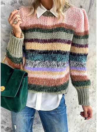 Bloque de Color Cuello Redondo Casuales Suéteres