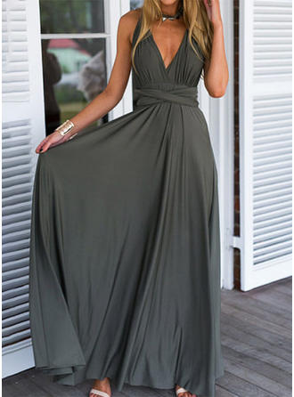 Sleeveless A-line Maxi Party Dresses
