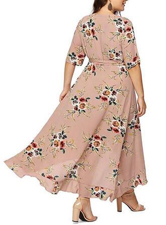 Print/Floral Short Sleeves A-line Asymmetrical Casual/Plus Size Dresses
