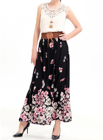 Mieszanki Bawełny Kwiatowy Maxi Spódnice A-Line