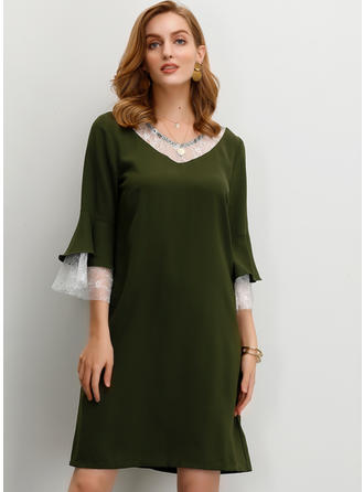 Lace/Solid 3/4 Sleeves/Flare Sleeves Shift Knee Length Casual Dresses