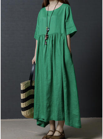1/2 Sleeves Shift Maxi Casual Dresses