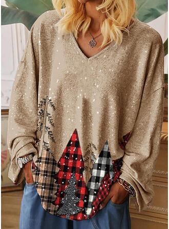 Print V-Neck Long Sleeves Casual Christmas T-shirts