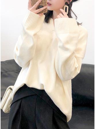 Poliester V-neck Jednolity kolor Swetry