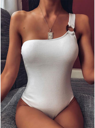 Solid farve One-Shoulder Sexet Elegant Badedragter Badedragter