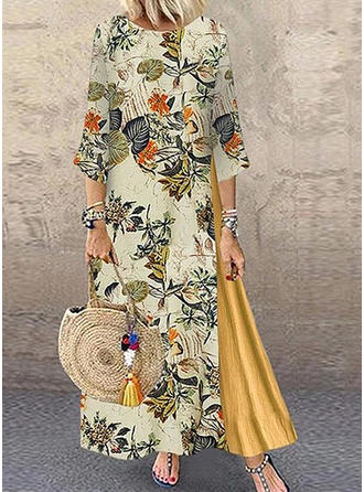 Print/Floral 3/4 Sleeves Shift Maxi Casual Dresses