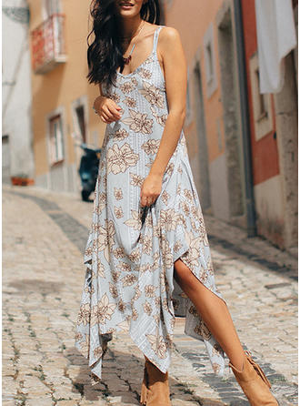 Print/Floral Sleeveless Shift Asymmetrical Casual Dresses