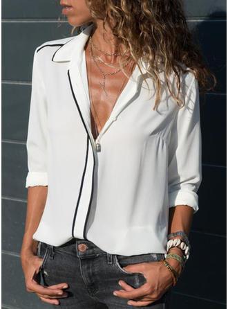 твердый отворот Длинные рукова Повседневная Рубашка Блузки
