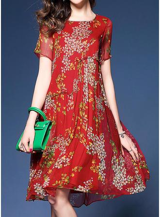 Estampado/Floral Manga Curta Evasê Comprimento do joelho Casual/Elegante Vestidos