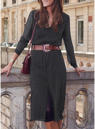 PolkaDot Long Sleeves Sheath Midi Casual/Elegant Dresses