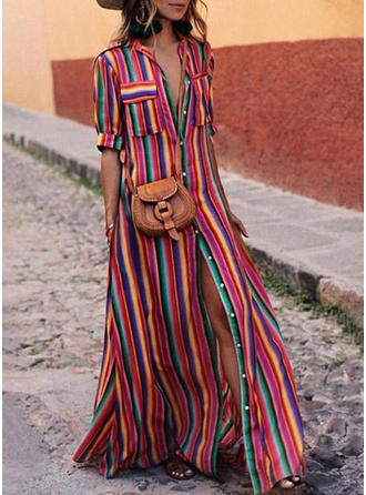 Striped 1/2 Sleeves Shift Maxi Casual Dresses