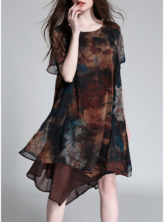 Chiffon With Stitching/Print Knee Length Dress