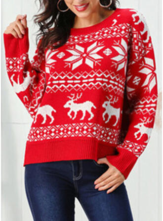 Print Chunky knit Cable-knit Round Neck Long Sleeves Casual Christmas Ugly Christmas Sweater