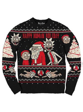 Poliéster Impressão Men Camisola de Natal