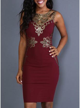 Hollow V-neck Knee Length Bodycon Dress