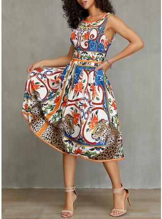 Print Sleeveless A-line Casual/Elegant Midi Dresses