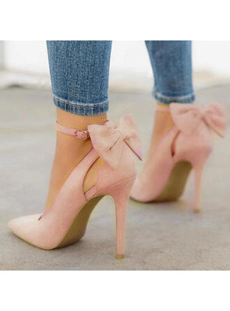 Kvinner Microfiber Lær Stiletto Hæl Pumps med Bowknot sko
