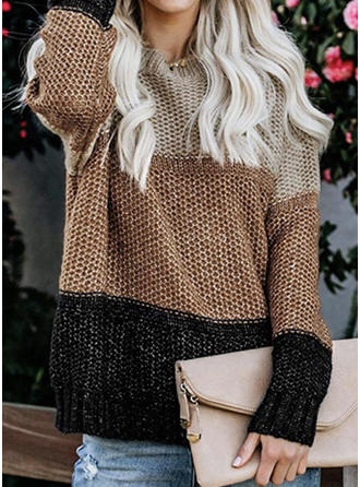Color Block Waffle Knit Chunky knit Round Neck Sweaters
