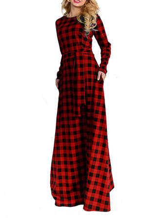 Plaid Round Neck Maxi Shift Dress