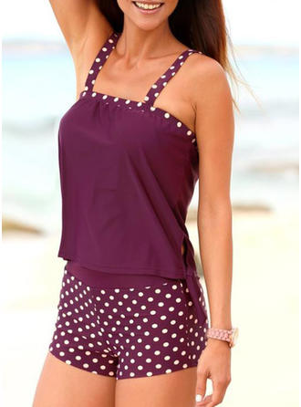 Dot Knotted Strap Sports Tankinis Swimsuits