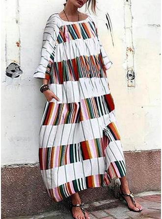 Color-block Round Neck Midi Shift Dress