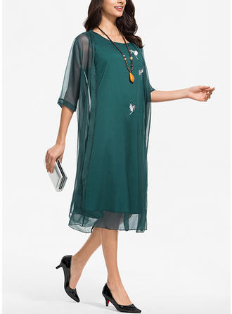 Embroidery/Solid 1/2 Sleeves Shift Midi Casual/Elegant Dresses