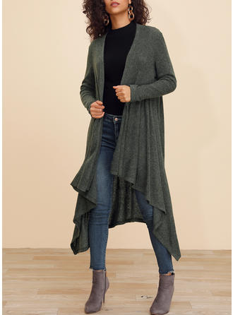 Polyester Long Sleeves Plain Trench Coats Wide-Waisted Coats Cardigans
