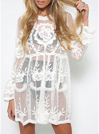 Tulle Round Neck Embroidery Long Sleeves Sheer Blouses