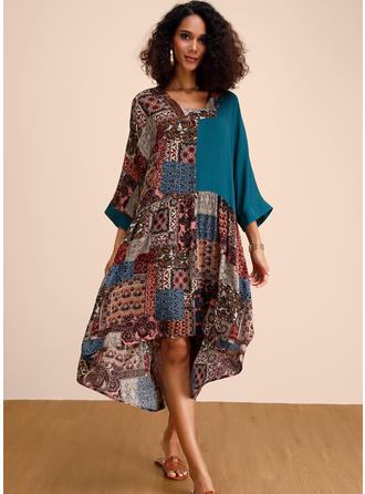 Print/Patchwork 3/4 Sleeves Shift Midi Casual/Boho/Vacation Dresses