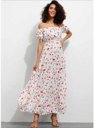 Print/Floral Short Sleeves A-line Maxi Vacation Dresses