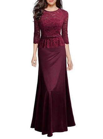 Lace With Hollow/See-through Look Maxi Dress