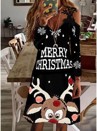 クリスマス 印刷/文字/動物 レース 長袖 冷たい肩の袖 シフトドレス 膝上 パーティー ドレス
