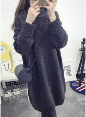 Solid Stand collar Knee Length Shift Dress