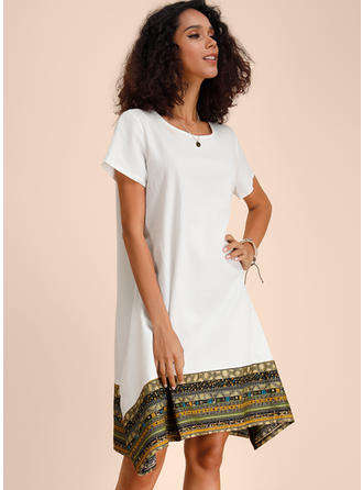 Print Short Sleeves Shift Asymmetrical Casual Dresses