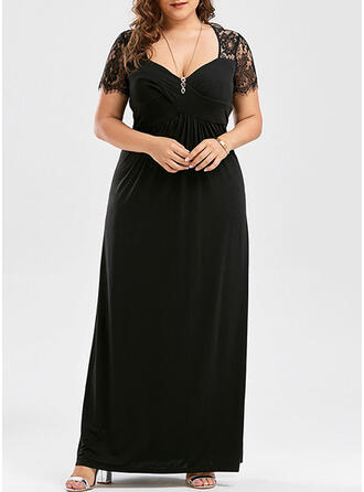 Lace/Solid Short Sleeves Sheath Little Black/Party Midi Dresses