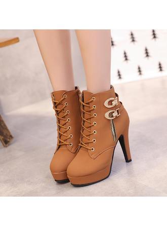 Női PU Tűsarok Csizma -Val Szegecs Lace-up cipő
