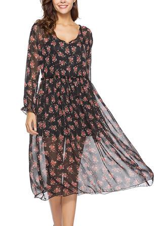 Nadrukowana/Kwiatowy Długie rękawy W kształcie litery A Midi Casual/Wakacyjna Sukienki